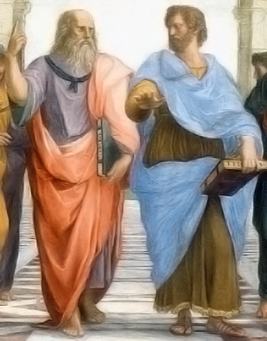 Plato and Aristotle in The School of Athens, by italian painter Rafael.