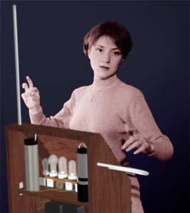 "Lydia Kavina playing an ""imaginary"" RCA Theremin"
