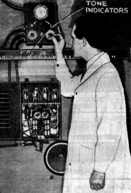Fig. B. Prof. Theremin adjusting the controls.