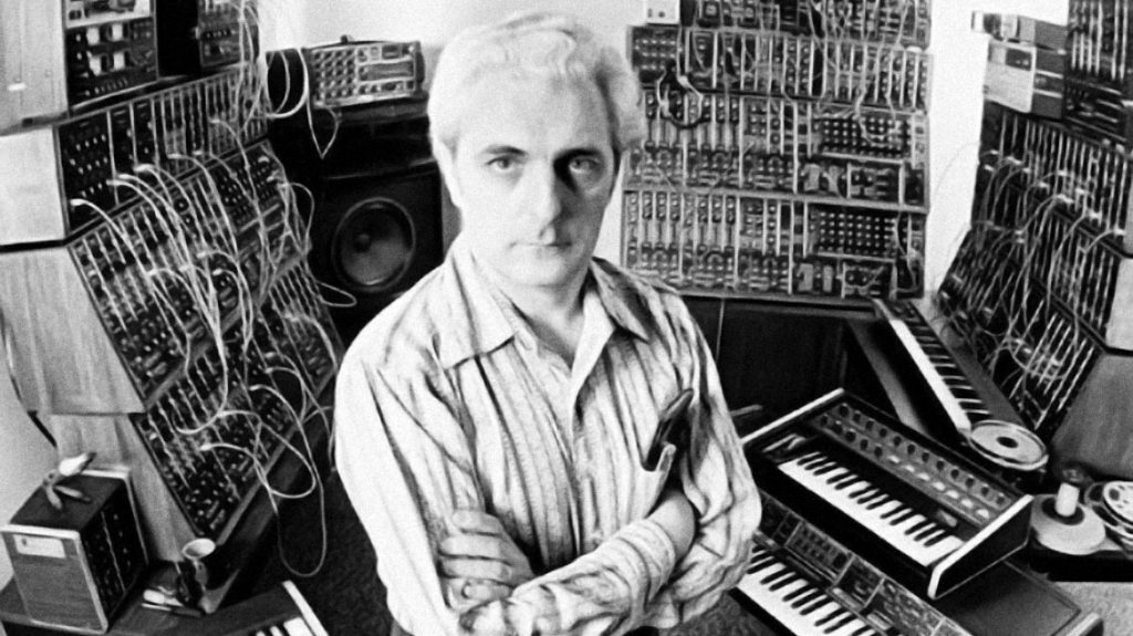 Bob Moog with his synthesizers.