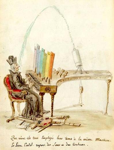 "A caricature of Louis-Bertrand Castel's ""ocular organ"" by Charles Germain de Saint Aubin"