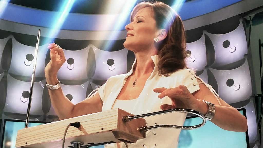 Hungarian musician Katica Illényi playing the Moog Etherwave theremin.