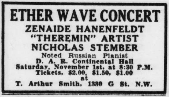 Advertisement for Zenaide Hanenfeldt's second Washington D.C. theremin recital.