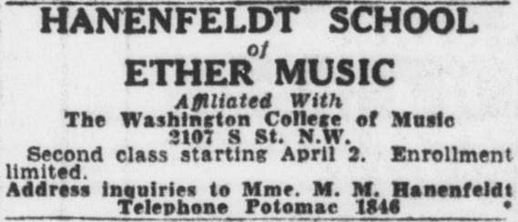 Advertisement for the Hanenfeldt School of Ether Music (1930).