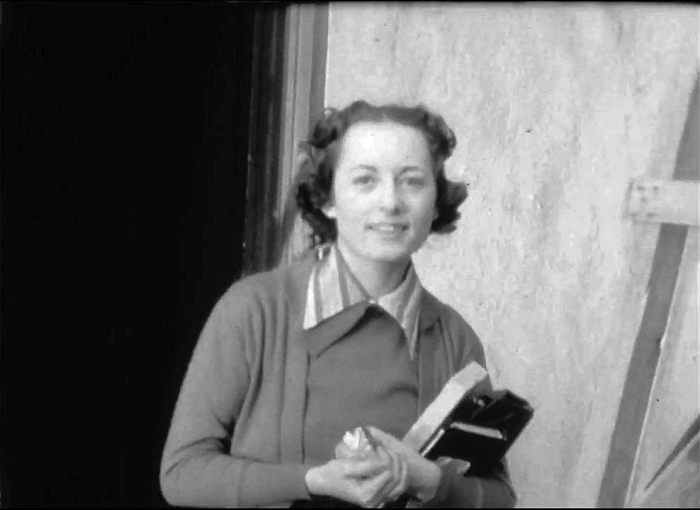 Photo of Zenaide Hanenfeldt at work as secretary of George Gershwin.