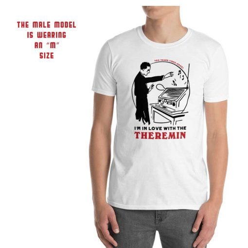 Photo of the Theremin's 100th anniversary T-shirt worn by a male model