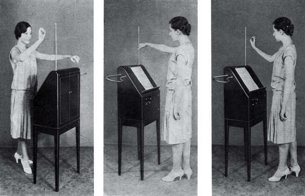 The first three of the six photographs taken at thereminist Zenaide Hanenfeldt for the RCA Victor Theremin Instruction booklet.