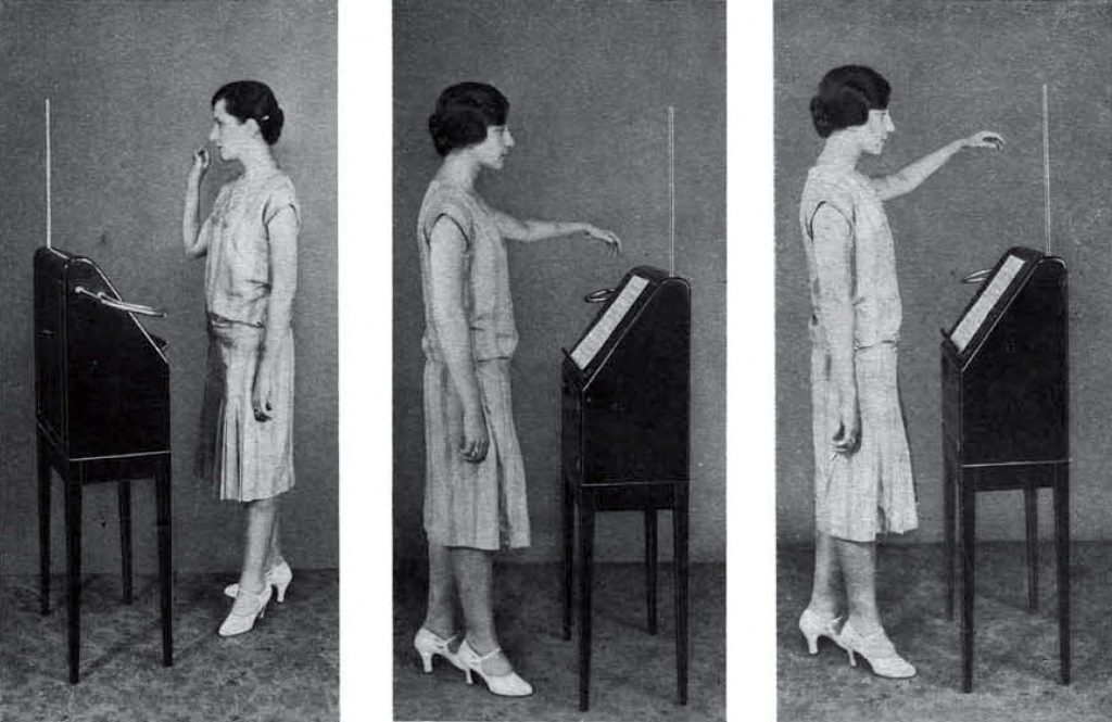 The second three of the six photographs taken at thereminist Zenaide Hanenfeldt for the RCA Victor Theremin Instruction booklet.