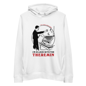 Photography of Theremin's 100th Anniversary Eco Hoodie white.
