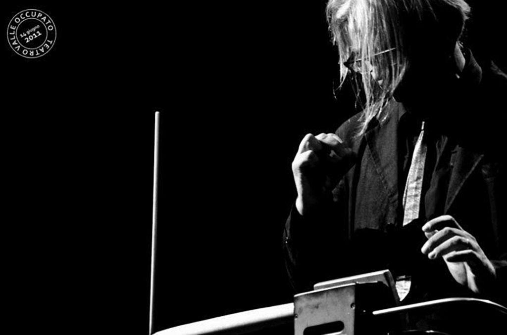 "Photograph of Maurizio ""ErMan"" Mansueti playing a Moog Music Etherwave Pro."