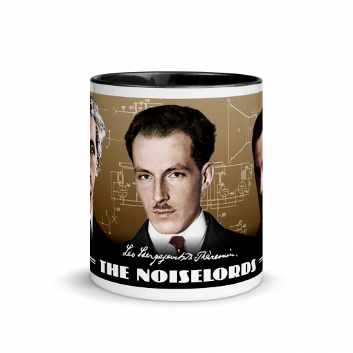 "Photograph of ""The Noisemakers"" mug featuring Leon Theremin, Bob Moog and Luigi Russolo."