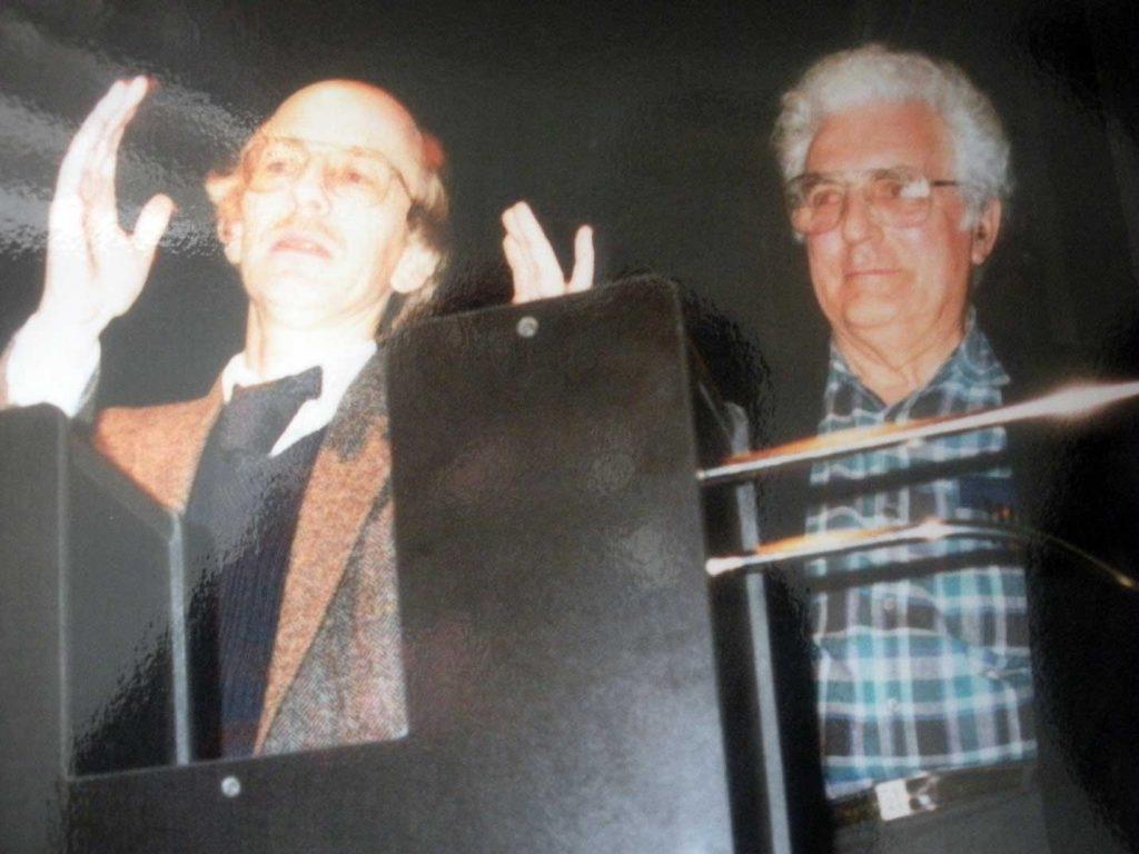Eric Ross and Bob Moog at Cornell University Ithaca NY. Photo by Mary Ross 1991